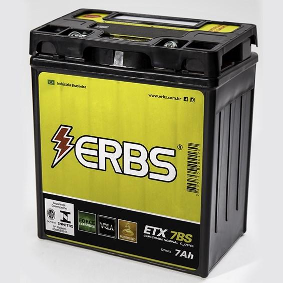 BATERIA ERBS ETX7BS (YTX7LBS) SELADA FALCON / TWISTER / TORNAD / FAZER 250 / LANDER / TITAN150 / HORNET -2007 / BIZ125ES / CB300