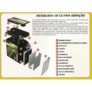 BATERIA ROUTE YTZ6LS (YTZ6V) SELADA TITAN 150 MIX 09 E/D/ BROS 150/160 MIX FAN 125 / 150 09 / BIZ 125 ES 09/13