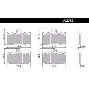 PASTILHA FREIO FISCHER FJ2752PC BMW R1200 GS 04/12 (D) K 1200 GT ABS 02/07 / R1200 RT 06/13