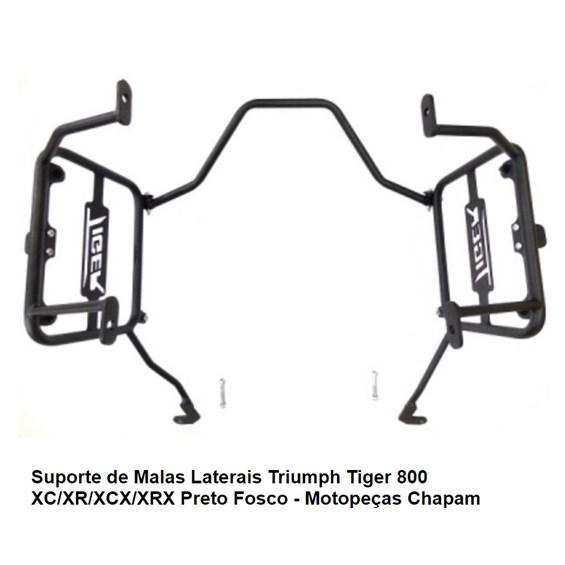 SUPORTE MALA LATERAL CHAPAM TRIUMPH TIGER 800 XC / XR / XCX / XRX PRETO FOSCO