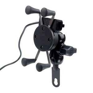 SUPORTE SMARTPHONE CELULAR GARRA FERRO C/ CARREGADOR USB P/ RETROVISOR KGA